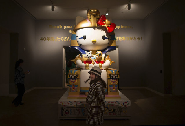 """Vivian Wolfson, 10 views """"Kittypatra"""" by Simone Legno For Tokidoki at the """"Hello! Exploring the Supercute World of Hello Kitty"""" museum exhibit in honor of Hello Kitty's 40th anniversary, at the Japanese American National Museum in Los Angeles, California October 10, 2014. (Photo by Lucy Nicholson/Reuters)"""