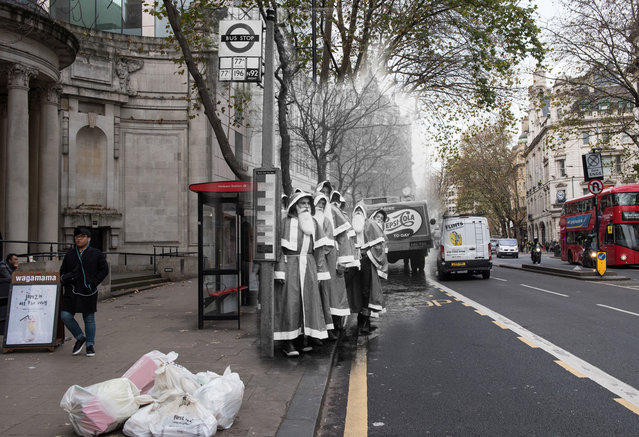 Archive: A group of people dressed as Santa Claus wait for the bus on December 1960, London, England. (Photo by Keystone-France/Gamma-Keystone via Getty Images) Modern Day: Passengers wait for busses in Holborn on November 24, 2017 in London, England. (Photo by Chris J. Ratcliffe/Getty Images)