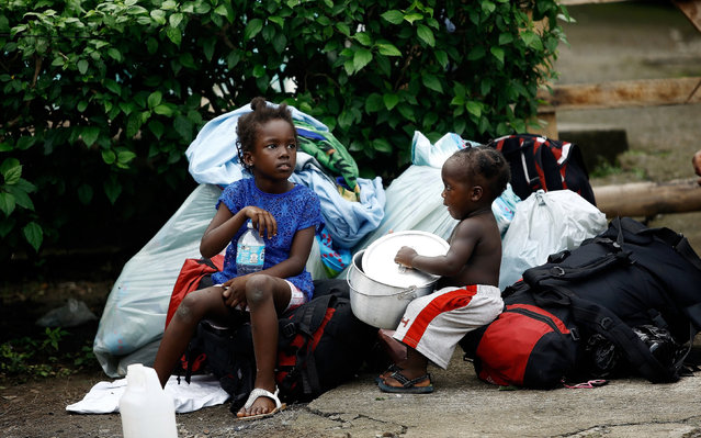 African migrant children play in a makeshift camp at the border between Costa Rica and Nicaragua, in Penas Blancas, Costa Rica, September 8, 2016. (Photo by Juan Carlos Ulate/Reuters)