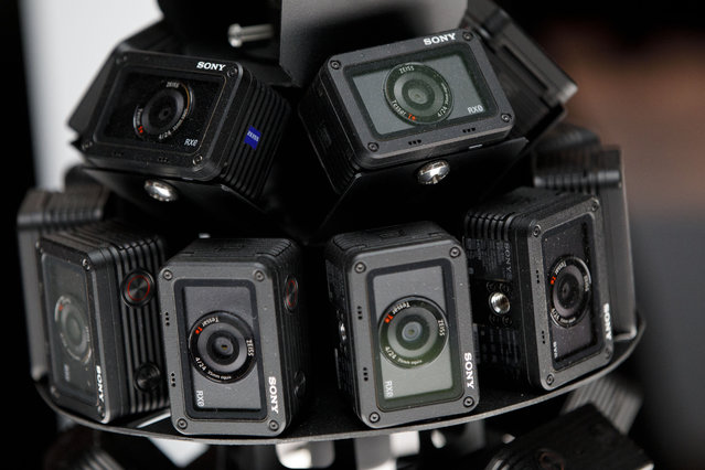 Sony Corp. RX0 cameras are displayed in a virtual reality (VR) array at the company's booth during the 2018 Consumer Electronics Show (CES) in Las Vegas, Nevada, U.S., on Monday, January 8, 2018. Electric and driverless cars will remain a big part of this year's CES, as makers of high-tech cameras, batteries, and AI software vie to climb into automakers' dashboards. (Photo by Patrick T. Fallon/Bloomberg)