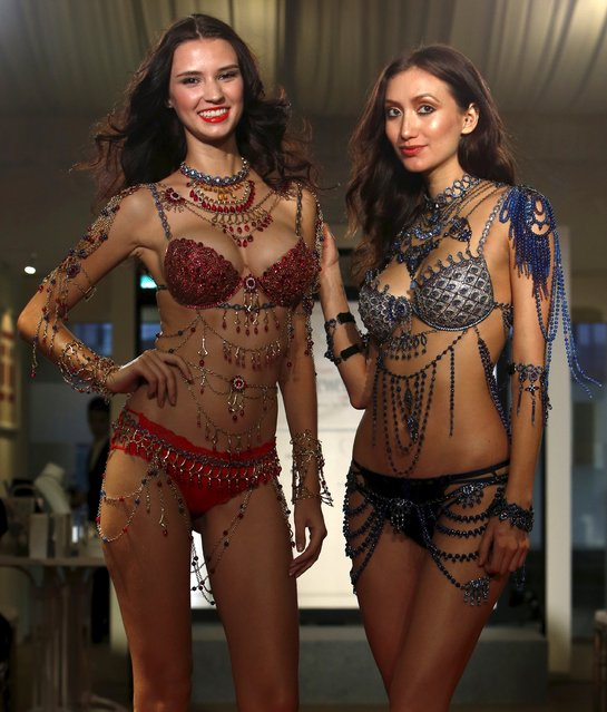 Models present Victoria Secret Fantasy Bras priced at $2 million each during a media preview of the Singapore JewelFest in Singapore October 8, 2015. The festival which is in its 13th year, sees over 42 Asian designers participating and over $300 million worth of jewels for sale. It opens from October 9 to 18. (Photo by Edgar Su/Reuters)