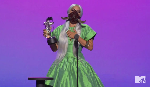 """In this video grab issued Sunday, August 30, 2020, by MTV, Lady Gaga accepts the award for song of the year for """"Rain On Me"""" during the MTV Video Music Awards. (Photo by MTV via AP Photo)"""
