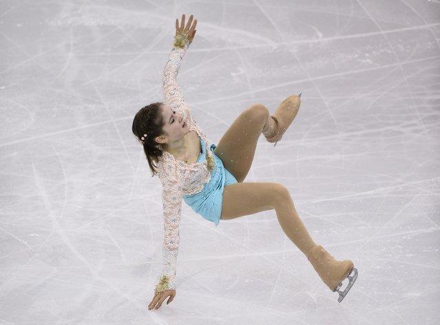 Julia Lipnitskaia, of Russia, falls during her Ladies Free Skating at the Grand Prix Final figure skating competition in Barcelona, Spain, Saturday, December 13, 2014. (Photo by Manu Fernandez/AP Photo)