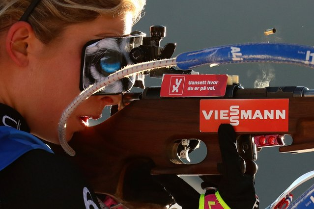 Ingrid Landmark Tandrevold of Norway shoots during the women's 10 km pursuit race at the Biathlon World Cup in Hochfilzen, Austria, Saturday, December 19, 2020. (Photo by Matthias Schrader/AP Photo)
