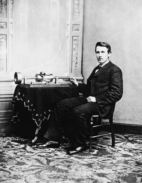 Thomas A. Edison poses with the the tin-foil phonograph, which he exhibited at the National Academy of Science in Washington and later demonstrated for the president at the White House, on April 18, 1878. The phonograph, Edison's favorite invention, was invented on Aug. 12, 1877. (Photo by AP Photo)