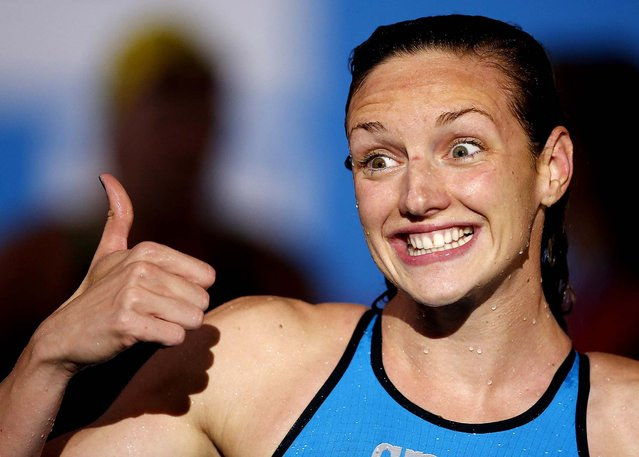 Hungary's Katinka Hosszu gestures after winning the gold medal in the Women's 200m Individual Medley final at the FINA Swimming World Championships in Barcelona, Spain, on July 29, 2013. (Photo by Emilio Morenatti/Associated Press)
