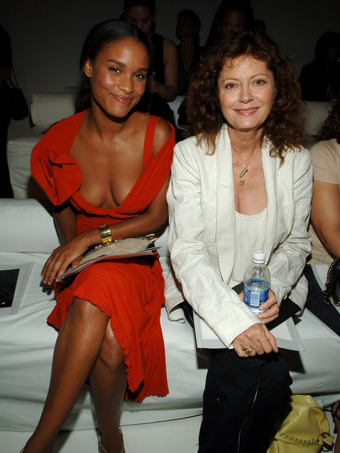 Joy Bryant and Susan Sarandon during Olympus Fashion Week Spring 2006 – Donna Karan – Front Row and Backstage at 711 Greenwich Street in New York City, New York, United States. (Photo by Dimitrios Kambouris/WireImage)