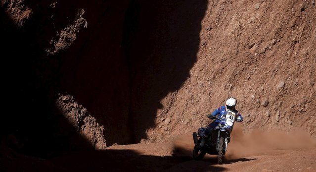 Adrien Van Beveren of France rides his Yamaha during the eighth stage of the Dakar Rally 2016 near Cafayate, Argentina, January 11, 2016. (Photo by Marcos Brindicci/Reuters)