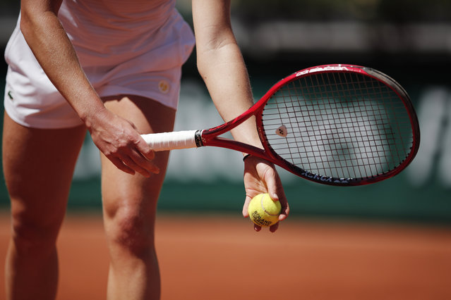 General view of France's Fiona Ferro in action during her first round match against Taiwan's Liang En-shuo at Roland Garros in Paris, France on June 1, 2021. (Photo by Benoit Tessier/Reuters)