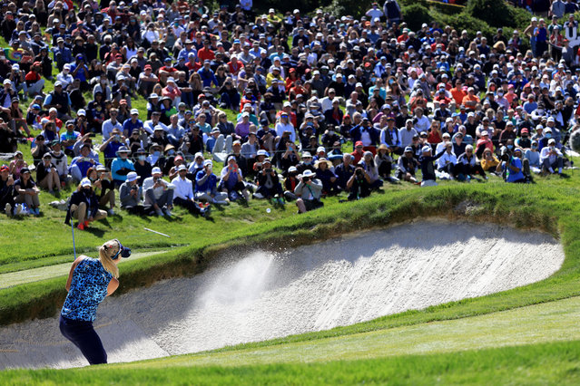Lexi Thompson of the United States hits from the bunker on the 18th hole during the final round of the 76th U.S. Women's Open Championship at The Olympic Club on June 06, 2021 in San Francisco, California. (Photo by Sean M. Haffey/Getty Images)