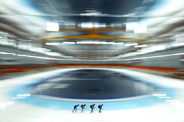 Members of the German Speed Skating team skate during a training session ahead of the Sochi Winter Olympics at Adler Arena on January 31, 2014 in Sochi, Russia. (Photo by Robert Cianflone/Getty Images)