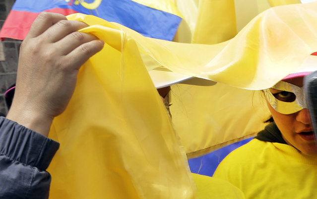 Women wearing metallic flyaway eye masks and their country's national flag, take part in the May Day parade, in a show of support for Ecuador's President Rafael Correa, in Quito, Ecuador, Friday, May 1, 2015. (Photo by Dolores Ochoa/AP Photo)
