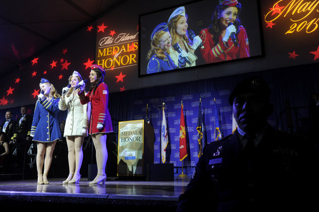 The Victory Belles, from the National WWII Museum, perform at the National Ethnic Coalition of Organizations' 2015 Ellis Island Medal of Honor awards ceremony on Ellis Island, Saturday, May 9, 2015.  NECO honored 101 recipients, including journalist Meredith Vieira, New York Yankees legend Mariano Rivera, Washington, D.C. Police Chief Cathy L. Lanier and 11 members of the U.S. military. (Photo by Diane Bondareff/Invision for NECO/AP Images)