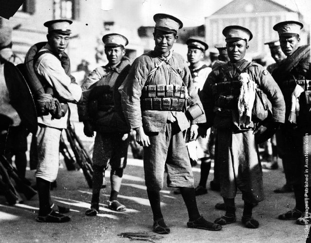 1927: Cantonese soldiers with their newly-supplied Russian equipment after arriving at Hankow as reinforcements for the Red Garrison