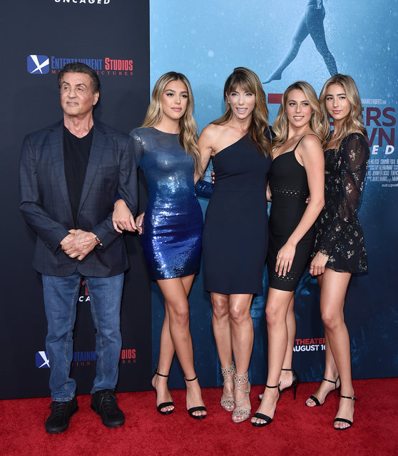 "(L-R) Sylvester Stallone, Sistine Rose Stallone, Jennifer Flavin, Sophia Rose Stallone, and Scarlet Rose Stallone attend the LA Premiere of Entertainment Studios' ""47 Meters Down Uncaged"" at Regency Village Theatre on August 13, 2019 in Westwood, California. (Photo by Axelle/Bauer-Griffin/FilmMagic)"