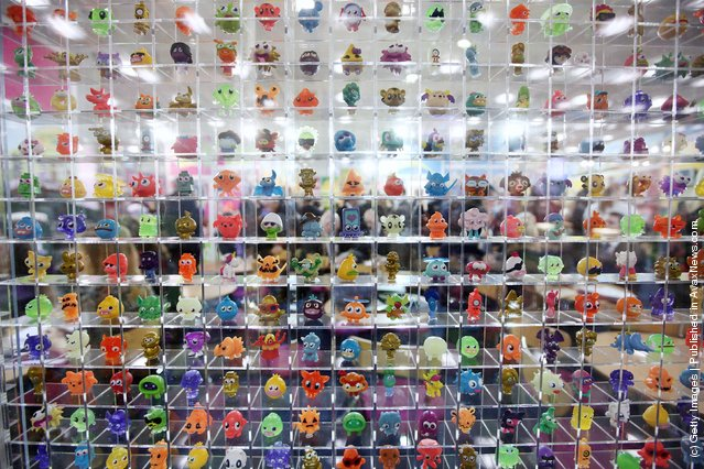 A display of Moshi Monsters characters are displayed at  the 2012 London Toy Fair