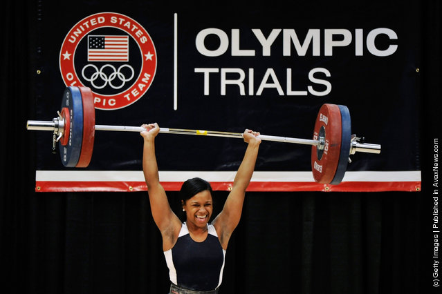 Jenny Arthur is all smiles after her successful 115 kilogram clean and jerk attempt during the 2012 U.S. Olympic Team Trials for Women's Weightlifting