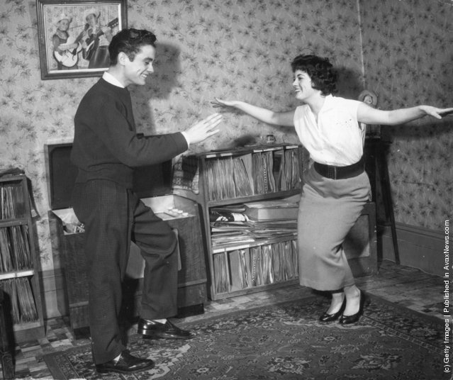 1957: Pop star Terry Wayne and his sister dancing at home in Plumstead, south London