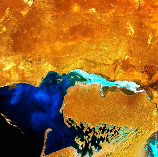 Looking like a monstrous ogre with something gooey in its mouth, the Dardzha Peninsula in western Turkmenistan lies among the shallow coastal terraces of the Caspian Sea