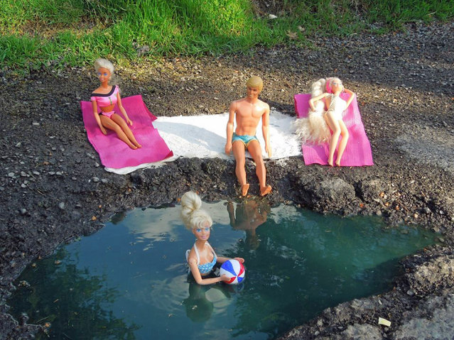 Funny pothole art: Barbie swimming pool pothole. (Photo by Caters News)