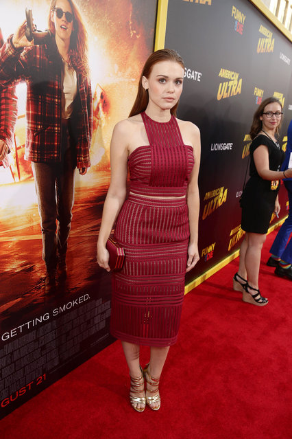 """Holland Roden seen at The World Premiere of Lionsgate's """"American Ultra"""" at Ace Hotel on Tuesday, August 18, 2015, in Los Angeles, CA. (Photo by Eric Charbonneau/Invision for Lionsgate/AP Images)"""