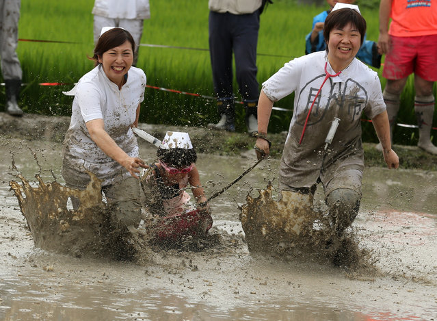 Japanese festival-goers dressed in medical costumes play with boat skiing board in the mud during the village mud festival at Yumesaki muddy paddy field on August 17, 2014 in Himeji, Japan. The festival has been held annually to encourage youths of the village to participate in the community. (Photo by Buddhika Weerasinghe/Getty Images)