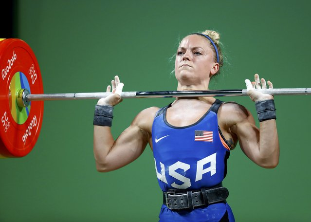 2016 Rio Olympics, Weightlifting, Final, Women's 48kg, Riocentro, Pavilion 2, Rio de Janeiro, Brazil on August 6, 2016. Morghan King (USA) of United States grimaces as she competes. (Photo by Kai Pfaffenbach/Reuters)
