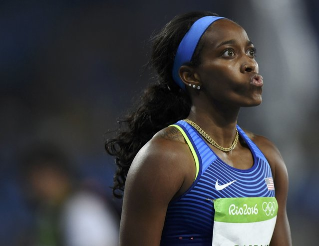 2016 Rio Olympics, Athletics, Preliminary, Women's 100m Round 1, Olympic Stadium, Rio de Janeiro, Brazil on August 12, 2016. English Gardner (USA) of USA after finishing in heat 8. (Photo by Dylan Martinez/Reuters)