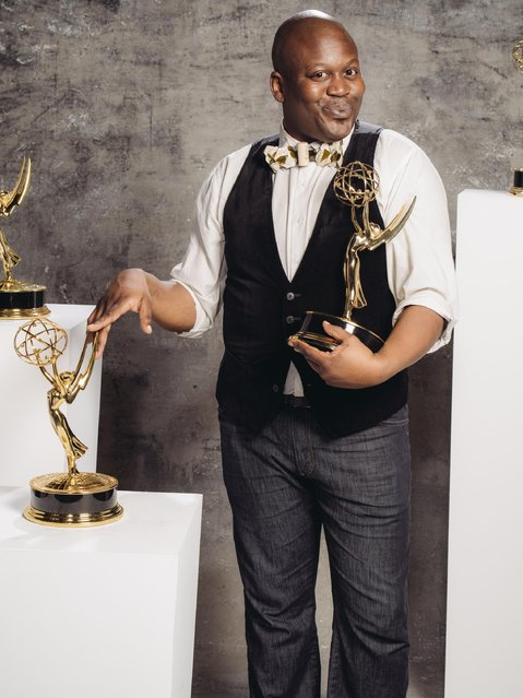 Titus Burgess poses for a portrait at the Television Academy's 67th Emmy Awards Performers Nominee Reception at the Pacific Design Center on Saturday, September 19, 2015 in West Hollywood, Calif. (Photo by Casey Curry/Invision for the Television Academy/AP Images)