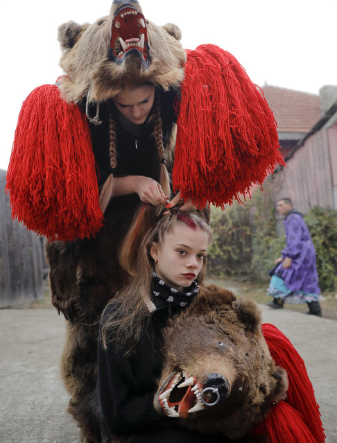 In this Saturday, December 30, 2017 picture, Roxana Stan, top, braids Raluca Atrejei's hair as they get ready for an annual bear parade in Asau, Romania. (Photo by Vadim Ghirda/AP Photo)
