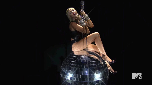"""In this video grab issued Sunday, August 30, 2020, by MTV, Miley Cyrus performs """"Midnight Sky"""" during the MTV Video Music Awards. (Photo by MTV via AP Photo)"""