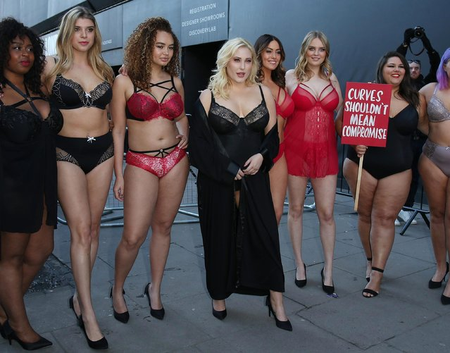 Actress Hayley Hasselhoff leads models, diversity campaigners and social media influencers question the lack of curves in the female fashion industry outside 180 The Strand on February 16, 2018 in London, England. (Photo by Neil P. Mockford/Getty Images)