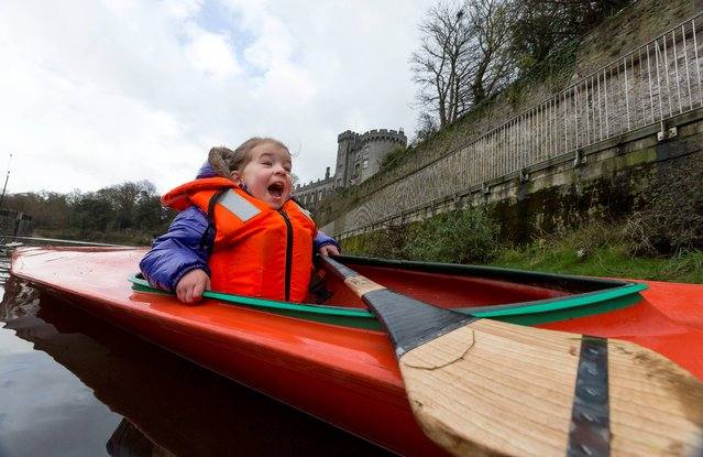 Over 1,000 canoeists, kayakers, paddlers and sports enthusiasts from across Ireland and the UK are to descend on Kilkenny on April 6 and 7 for Paddlefest 2013, an international celebration of adrenalin-pumping sport and fun. The weekend-long event will see novice and expert canoeists, kayakers and paddlers from Ireland and abroad descend on Kilkenny for a series of workshops, displays and more. Making a splash was Doireann Corr, 3, on March 9, 2013. (Photo by Dylan Vaughan)