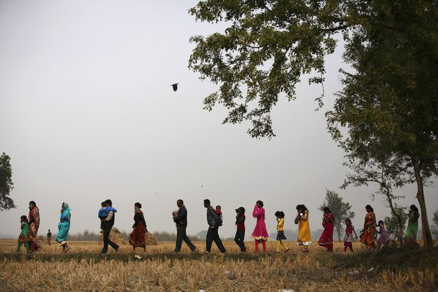 "People return after attending the ""Gadhimai Mela"" festival held in Bariyapur November 29, 2014. (Photo by Navesh Chitrakar/Reuters)"