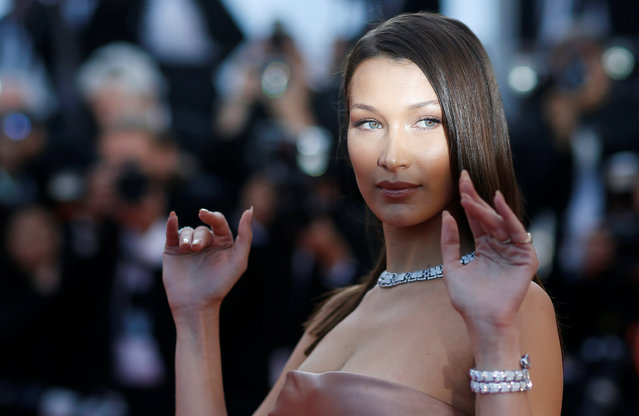"""Bella Hadid attends the screening of """"Ash Is The Purest White (Jiang Hu Er Nv)"""" during the 71st annual Cannes Film Festival at Palais des Festivals on May 11, 2018 in Cannes, France. (Photo by Stephane Mahe/Reuters)"""