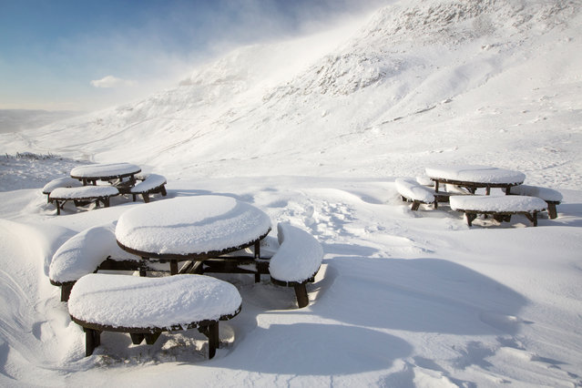 Picnic tables covered with snow seen at Kirkstone Pass in Cumbria, England on January 10, 2016. (Photo by Ashley Cooper/Barcroft Media)