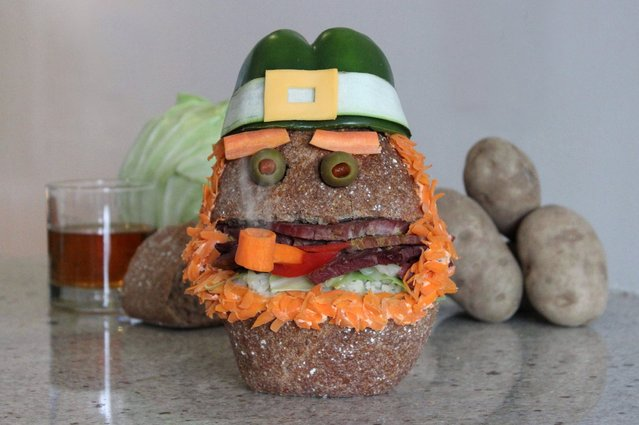 """""""Kasia Haupt's sandwich monsters: Leprecorned Beef and Cabbage"""". (Photo by Kasia Haupt/Caters News)"""