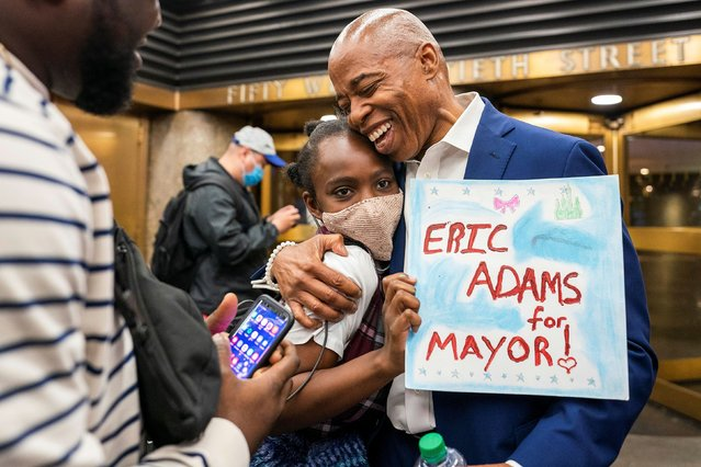 """Eric Adams, Democratic candidate for New York City Mayor, speaks to supporters after participating in the Democratic primary debate in New York City, U.S., June 16, 2021. (Photo by David """"Dee"""" Delgado/Reuters)"""