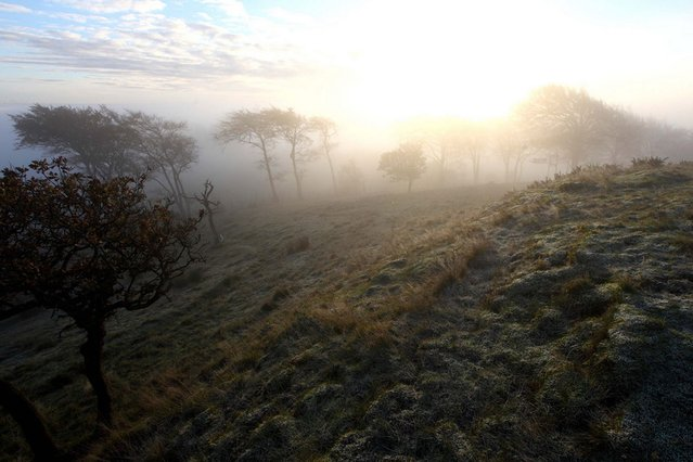 Frosty sunrise at Cairnpapple in the Bathgate Hills. (Photo by Gordon Jack/Scotimage.com)