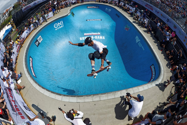 Skateboard legend Tony Hawk in action during the Bowl-a-Rama annual skate competition on Bondi beach in Sydney, Australia on February 22, 2016. (Photo by Pacific/Rex Features/Shutterstock)