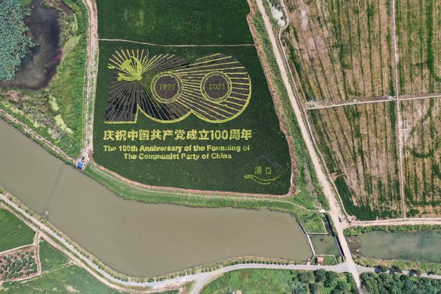 This aerial photo taken on September 12, 2021 shows an image commemorating the 100th anniversary of the Chinese Communist Party, created by growing different varieties of rice, in a paddy in Nanjing, China's eastern Jiangsu province. (Photo by Reuters/China Stringer Network)