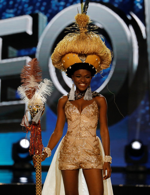 Miss Universe candidate from Siera Leone Hawa Kamara competes during a national costume preliminary competition in Pasay, Metro Manila, Philippines January 26, 2017. (Photo by Erik De Castro/Reuters)