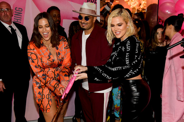 Ashley Graham, co-founder and CEO of PrettyLittleThing Umar Kamani and Khloe Kardashian attends the PrettyLittleThing LA Office Opening Party on February 20, 2019 in Los Angeles, California. (Photo by Matt Winkelmeyer/Getty Images)