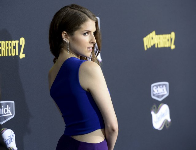 "Cast member Anna Kendrick poses at the premiere of ""Pitch Perfect 2"" in Los Angeles, California, United States May 8, 2015. (Photo by Kevork Djansezian/Reuters)"
