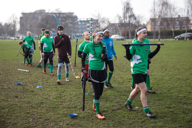 The Keele Squirrels quidditch team walk off the pitch during the Crumpet Cup quidditch tournament on Clapham Common on February 18, 2017 in London, England. (Photo by Jack Taylor/Getty Images)
