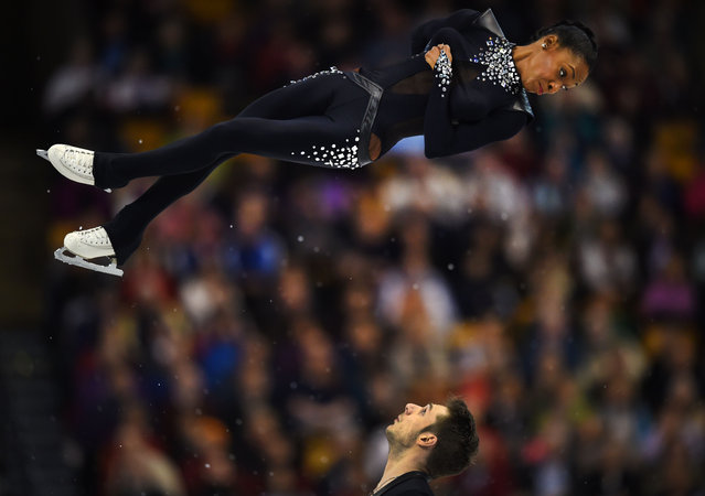 Vanessa James and Morgan Cipres of France during the Pairs Short Program at the ISU World Figure Skating Championships at TD Garden in Boston, Massachusetts, April 1, 2016. (Photo by Timothy A. Clary/AFP Photo)