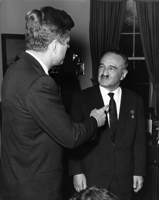 Anastas Ivanovich Mikoyan (1895 – 1978) Soviet politician in his capacity as Deputy Premier of the USSR meeting President Kennedy of America at the White House for discussions on Cuba, following the Cuban missile crisis. (Photo by Keystone/Getty Images)
