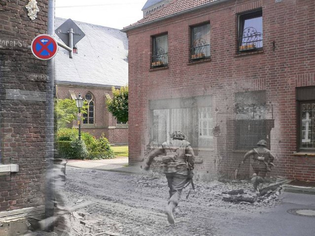 Troops of the Royal Norfolk's in Pastoratstrasse facing the Schloßstrasse in Kervenheim. 1945 – 2014. (Photo by Adam Surrey)