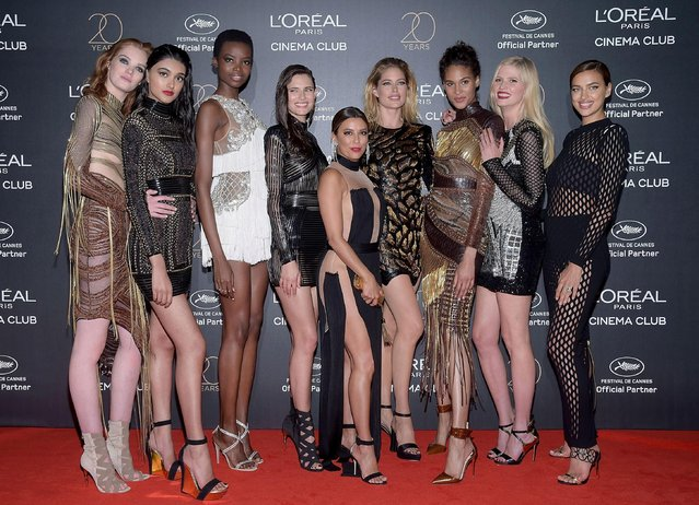 (L-R) Alexina Graham, Neelam Gill, Maria Borges, Bianca Balti, Eva Longoria, Doutzen Kroes, Cindy Bruna, Lara Stone and Irina Shayk attend the Gala 20th Birthday Of L'Oreal In Cannes during the 70th annual Cannes Film Festival at Martinez Hotel on May 24, 2017 in Cannes, France. (Photo by Pascal Le Segretain/Getty Images)