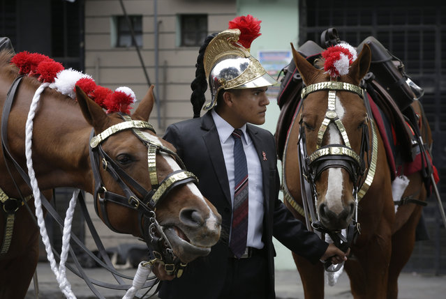 A plains clothes police officer holds on to a couple of horses while wearing the helmet of one of the riders, while Peru's President Ollanta Humala delivered his last State of the Nation address during Independence Day celebrations, in Lima, Peru, Tuesday, July 28, 2015. Both riders, member of the Hussars of Junin Regiment handed over the reigns of their chargers in order to take a bathroom break. (Photo by Martin Mejia/AP Photo)
